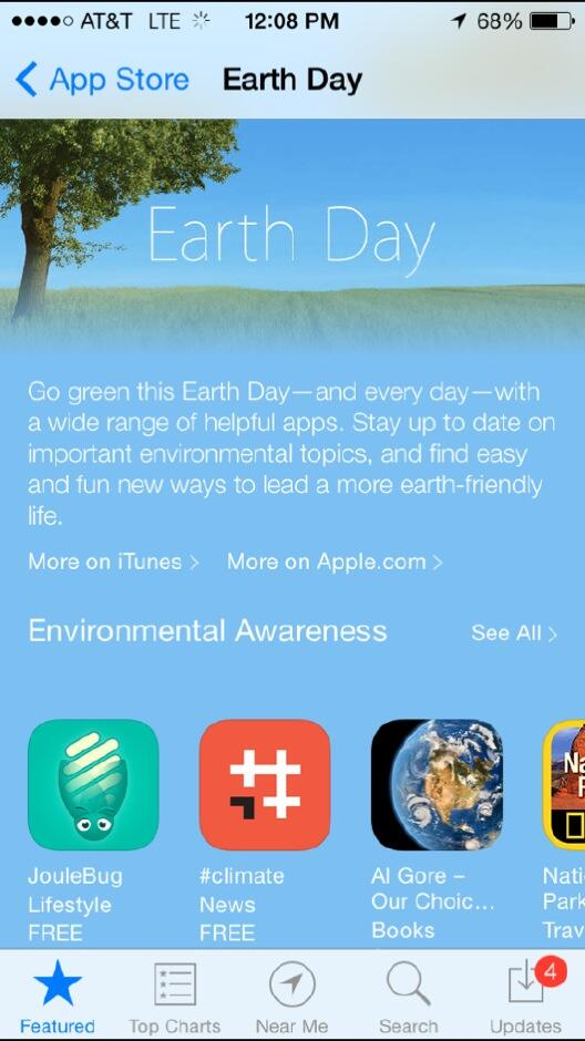 Congrats to @joshmedia & #climate team for being featured front & center on Apple appstore Earth Day. http://t.co/31Ehzx8JcC