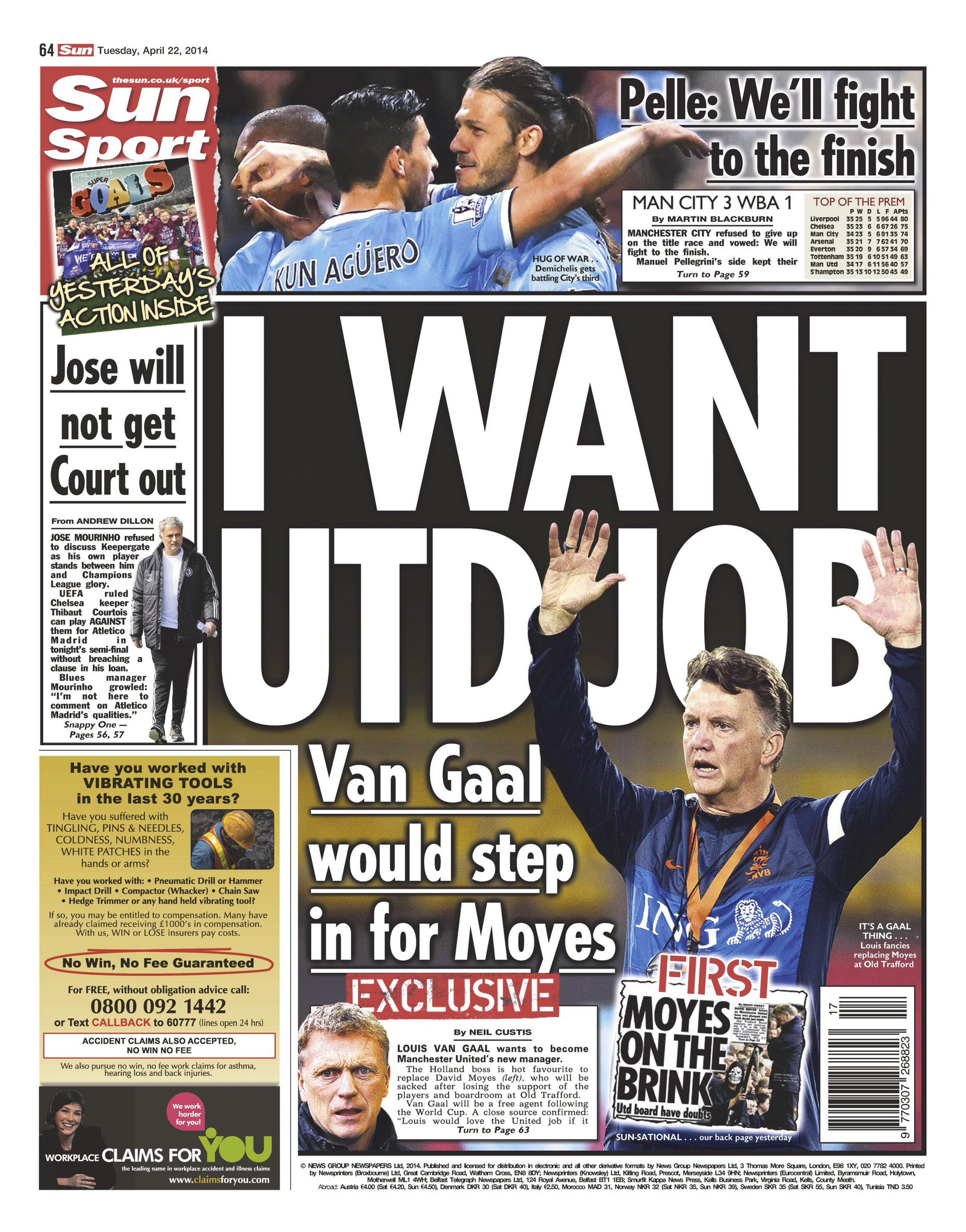 Spurs target Louis van Gaal announces he wants to take over at Man United [Sun]
