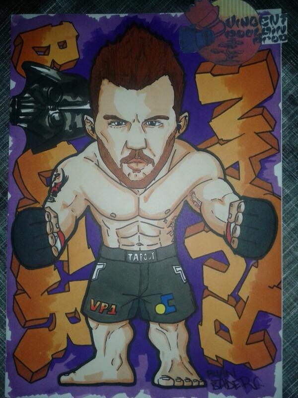 My last drawing for a @ufc  @ryanbader @TapouT by a French artist @Vincenthury