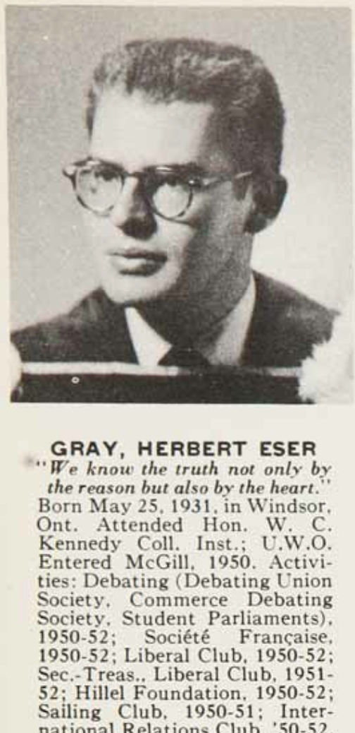 Former deputy prime minister Herb Gray dies at 82. (McGill grad, BCom'52) http://t.co/0ZgQoXOVeX
