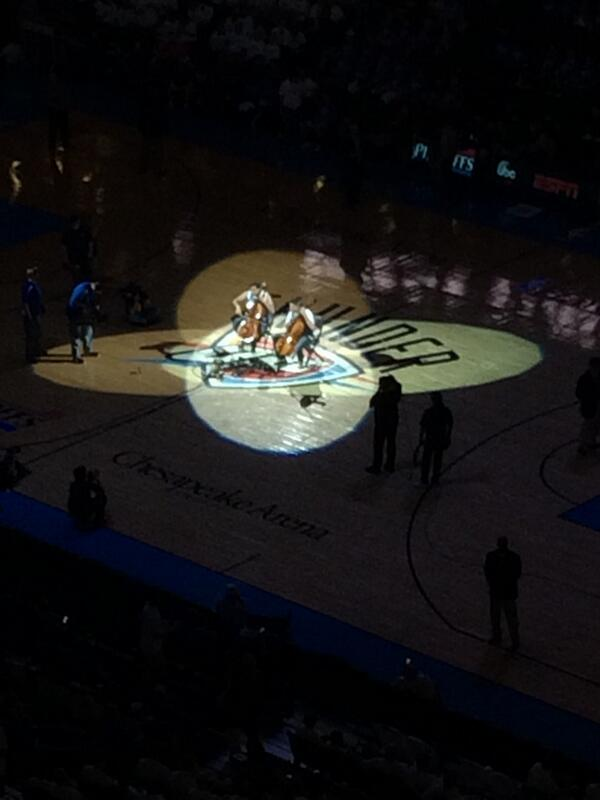 We love that OKC is supporting the arts by having 2cellos perform at the @okcthunder #playoff game halftime!! http://t.co/B9PqaZwCKa