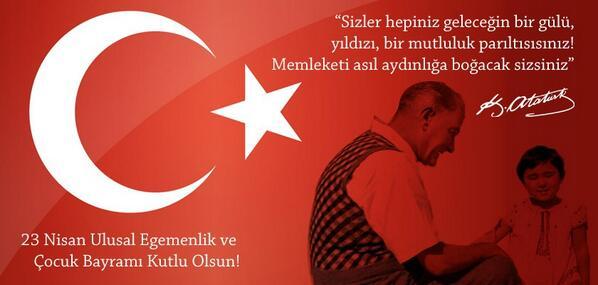 23 Nisan Ulusal Egemenlik ve Çocuk Bayramımız Kutlu Olsun! http://t.co/G21S6WFYBF
