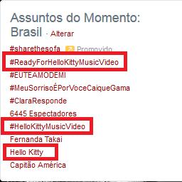"As tags #HelloKittyMusicVideo, #ReadyForHelloKittyMusicVideo e ""Hello Kitty"" estão nos trends Brasil! http://t.co/rkq8MlsUxW"