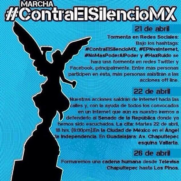 Aquí les dejo la información de las movilizaciones #EPNvsInternet  #ContraElSilencioMX http://t.co/z8JSbUimgj