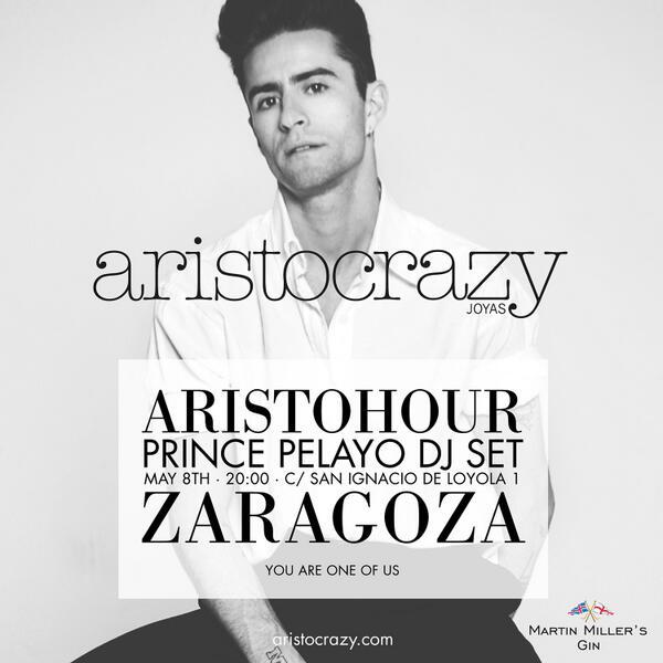 Este jueves tenemos #aristohour en Zaragoza con @princepelayo ¡os esperamos! #aristocrazyzaragoza http://t.co/2tmG1WRDqL