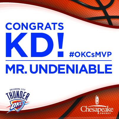 Congrats @KDtrey5! Thank you for your commitment on the court and to the community. #OKCsMVP http://t.co/3T1BtY3Vlf