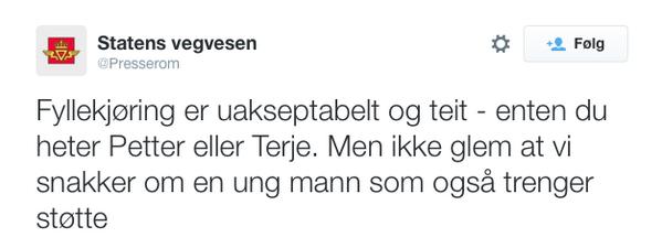 """Merkelig tweet fra Statens Vegvesen. De kaller fyllekjøring """"teit"""". Er livsfarlig forbikjøringer da """"helt dust""""? http://t.co/JCtfYT0jx9"""