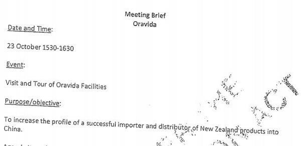 "MFAT Briefing note : Oravida visit purpose was to ""increase profile"" ( via @grantrobertson1 ) http://t.co/YOEmip2NJ3 http://t.co/Zhn3Mgre5S"
