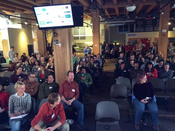 A packed house for the @hack2end #homelessness pitches. This is the view from the stage. #h2eh http://t.co/UtBVkMwSv9