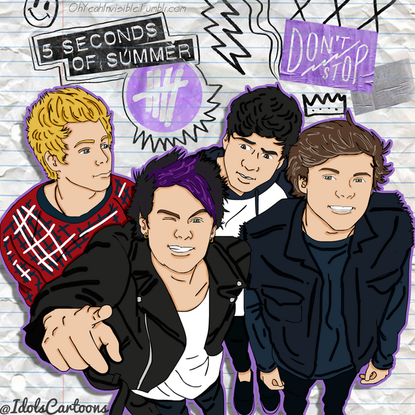 "Paola. 👊 on Twitter: ""DRAWING OF @5SOS ""DON'T STOP ..."
