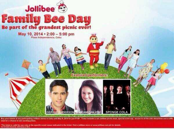 It's Family Bee Day on May 10! Catch Julie and other performers at Plaza Independencia, Cebu, 2-5PM. :) http://t.co/COfwWjg0gK