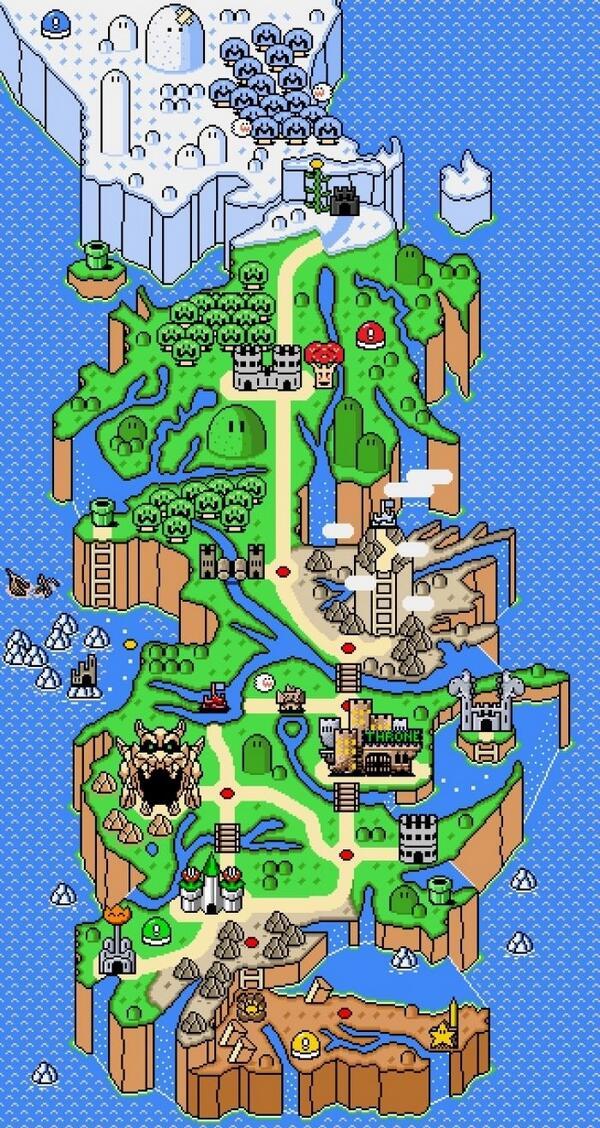Carte de Westeros façon Mario ^^ #GoT http://t.co/TvNICQ3JZ6