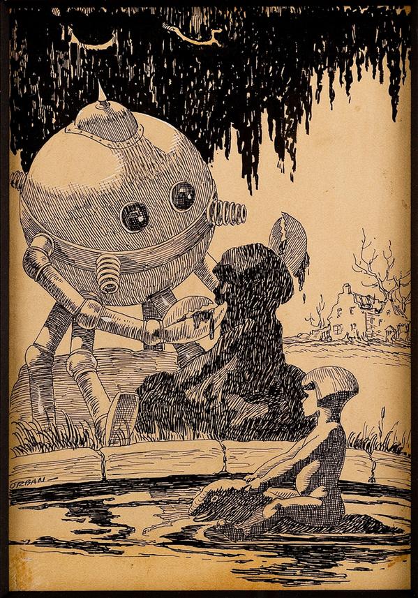 パルプ雑誌のデザインを勉強しようと画像漁ったらすごい可愛いのでてきた。ロボットちゃん頑張って少女像を複製しようとするの図。