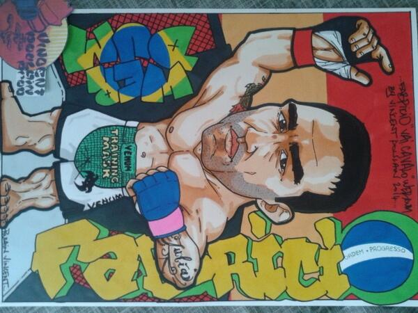 My last drawing for @FabricioWerdum Vai cavalho @ufc @Venumfight @kings_mma by a French artist @Vincenthury