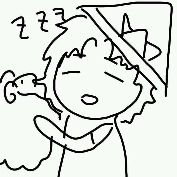 芥川さんお誕生日おめでとうございます 今日の部活で昼寝をしている時の芥川さんを描いてみました かぶとは向日さんと宍戸さんがいらない紙で作っていたやつです http://t.co/erIyjc7usC