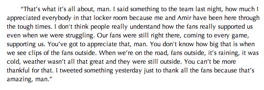 DeMar DeRozan on the support from the Raptors #RTZ fan base: http://t.co/5ctbIPSTNJ
