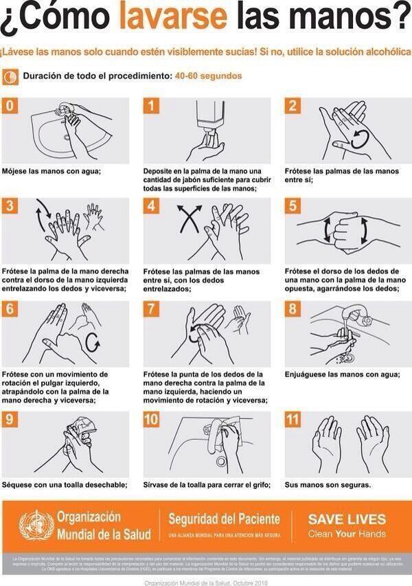 Secretar a de salud on twitter el adecuado lavado de for Lavado de manos en la cocina