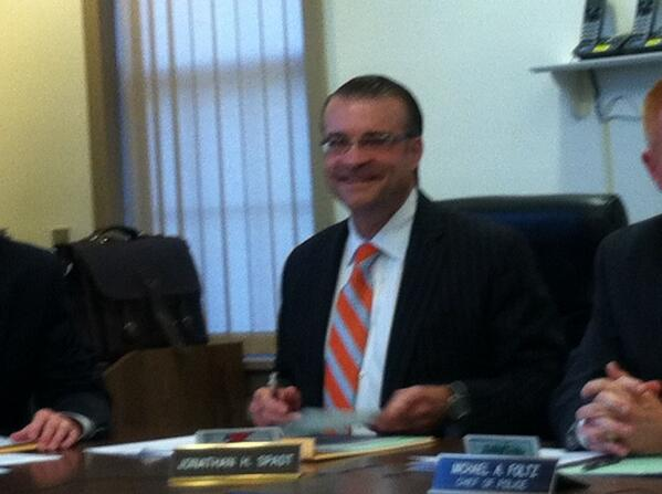 Jon Spadt is all smiles at his last meeting as a Lower #Pottsgrove Commissioner. His resignation on agenda @MercuryX http://t.co/qiEQ2rcaG0