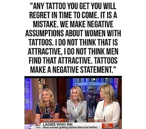So sexist it's disgusting. Man or woman, tattoos are self expression. Ill never regret a single tattoo on my body. http://t.co/A8eHGsx5xu