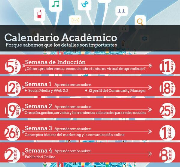 Organiza tu tiempo, participa y revisa el calendario académico del curso #CommunityManager. #cmtelescopio http://t.co/QaYhwB1qGp