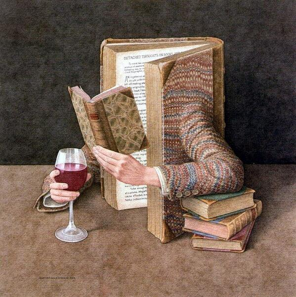 "#SurrealSaturday! ""@MaqualeAngelo jonathan wolstenholme, ""The #surreal #book is drinking #wine"" (1950) http://t.co/tqAR4lwezL"" #WineBook? :)"