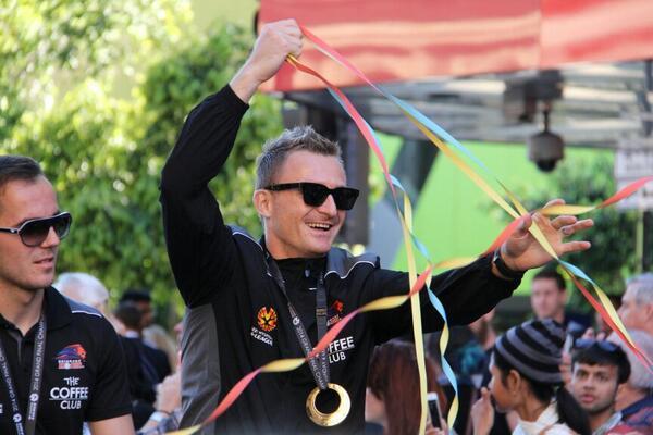 Besart Berisha enjoys the ticker tape parade for the #Brisbane #Roar @abcnews @612brisbane http://t.co/dh8vdGGdcn