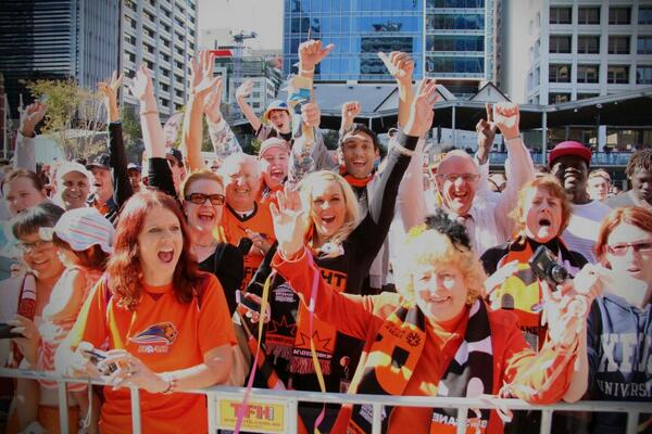 Crowds at the #Brisbane #Roar parade today @abcnews @612brisbane http://t.co/XLiz0GETYs