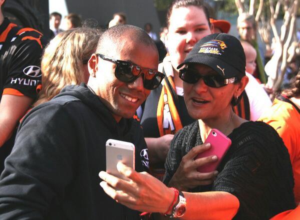 Brazilian star Henrique gets a photo with a #Brisbane #Roar fan today @abcnews @612brisbane http://t.co/3x7F9nPryy