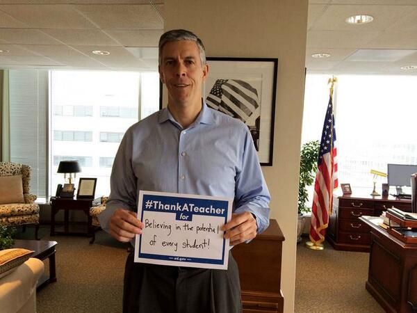 Join @arneduncan on National Teacher Appreciation Day! #ThankATeacher and post your pic now! http://t.co/jVD8BlxzDa http://t.co/3ldDdkyDYj