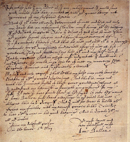 This letter was supposedly written on this day, 6th May 1536 by Anne Boleyn for the attention of King Henry VIII.. http://t.co/kQDqnI0z9l