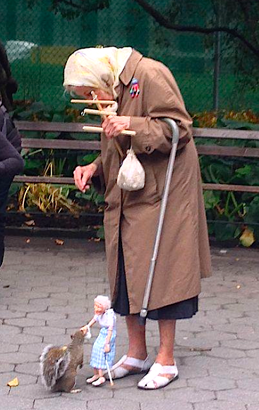 Old lady, old lady puppet, squirrel. http://t.co/IODUHho292