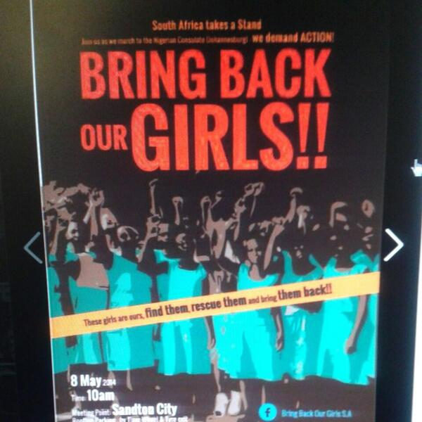 Bring back our girls march to the Nigerian consulate starts thursday 10 am sandton city roof top parking http://t.co/aWRE3knuhm