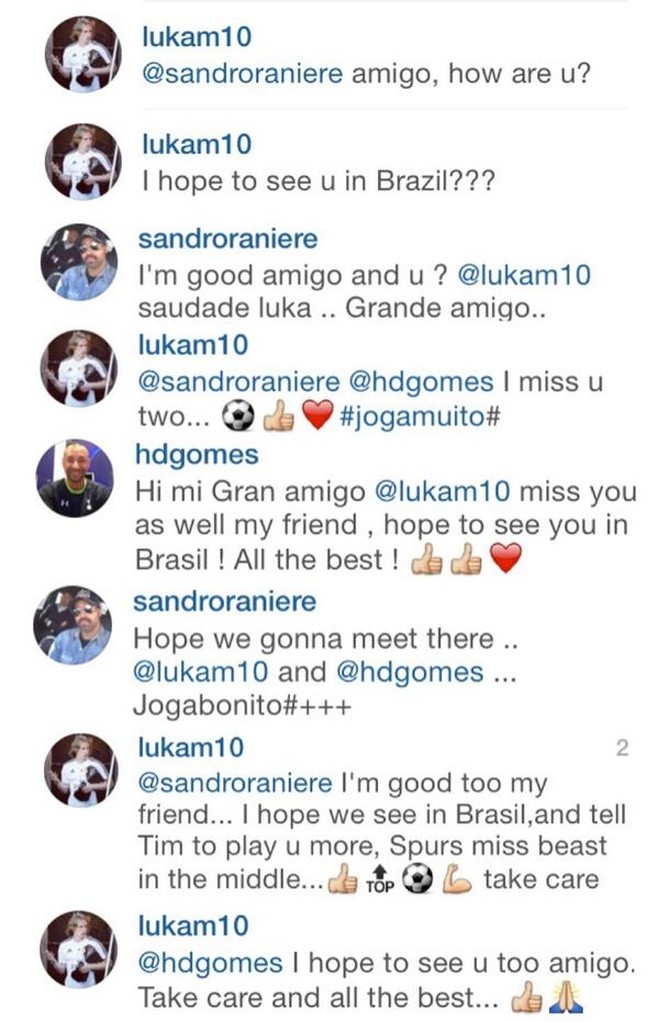 Real Madrids Luka Modric says Tottenham should play Sandro more on Instagram [Pictures]