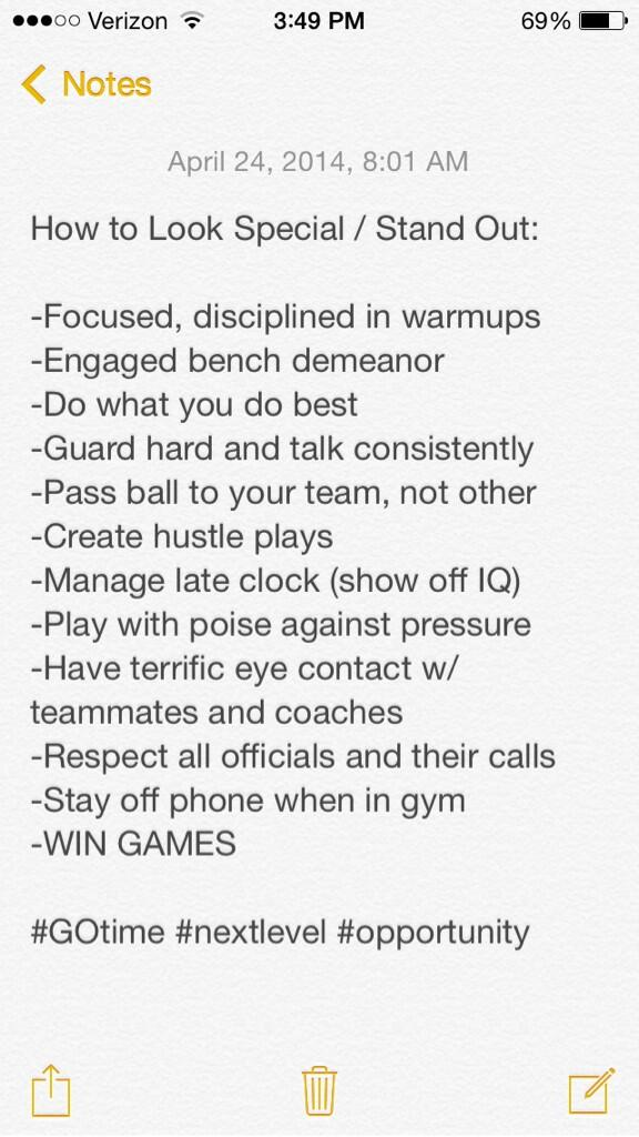 Many players being evaluated by college coaches this weekend. Here's a list on how to stand out / look special: http://t.co/qyVbAO8PDV