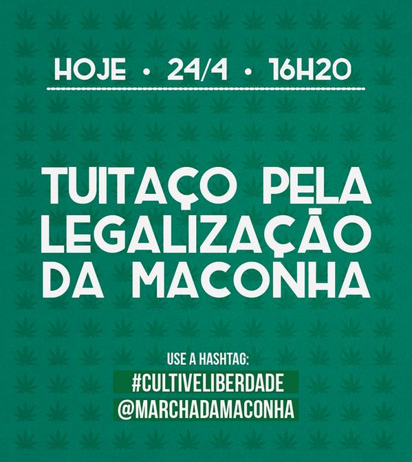 HOJE, às 16h20, vai rolar TUITAÇO PELA LEGALIZAÇÃO DA MACONHA! A tag é #CultiveLiberdade. Quem ajuda a levantar? http://t.co/inddcGklLZ