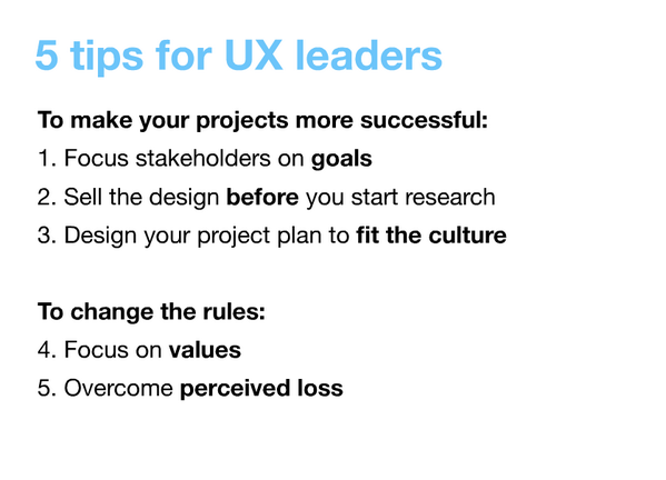 Thumbnail for Kim Goodwin: 32 Awesomely Practical UX Tips, Rosenfeld Summit