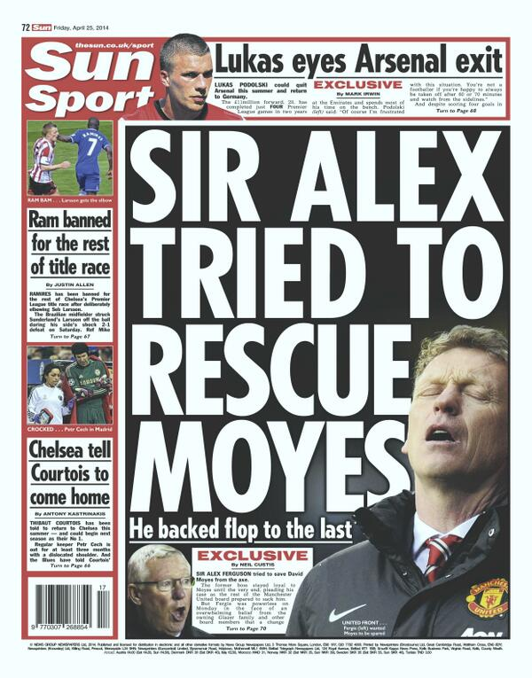 Sir Alex Ferguson tried to save David Moyes from Manchester United sack [Sun Sport]