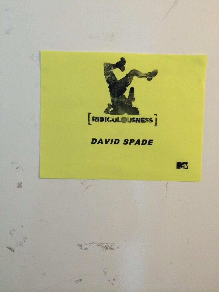 Taping Ridiculousness today. This was the beat up door of my dressing room. @robdyrdek http://t.co/4nyT9e9yGu