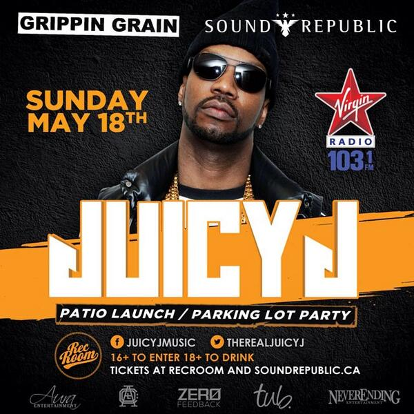 Another big show @recroomlounge  patio launch / parking lot party! Juicy J Sunday May 18! RT to win tix! http://t.co/9i7s5HQ6Re