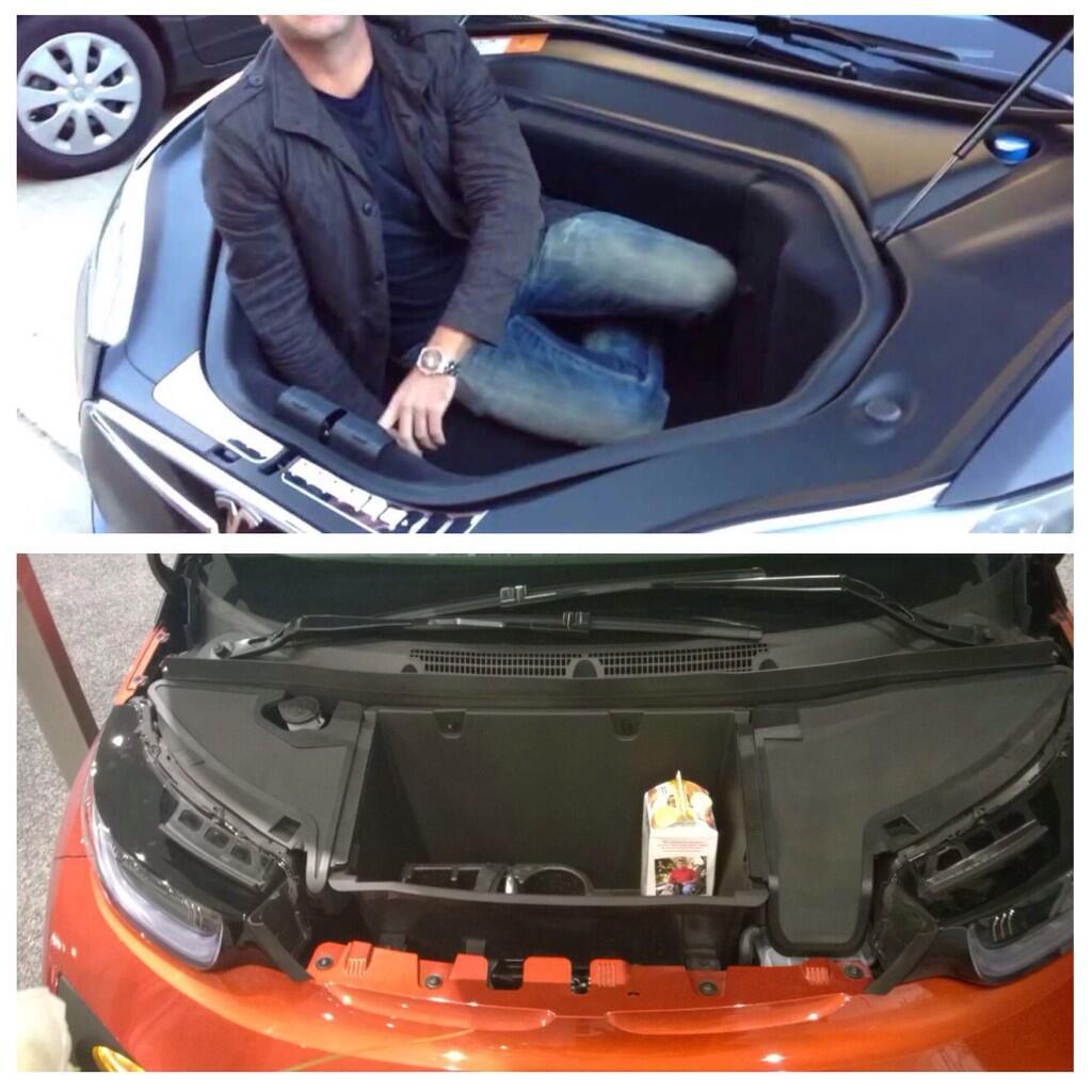 """Bmw I3 Tesla Supercharger Adapter: Tesla New York On Twitter: """"Tesla Model S & BMW I3 """"Frunk"""