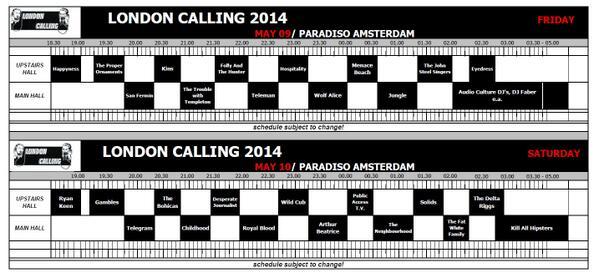 Het blokkenschema van London Calling 9 & 10 mei is bekend! Zie hier: http://t.co/9YuhzUttY8 en: http://t.co/JGERfIqV1N