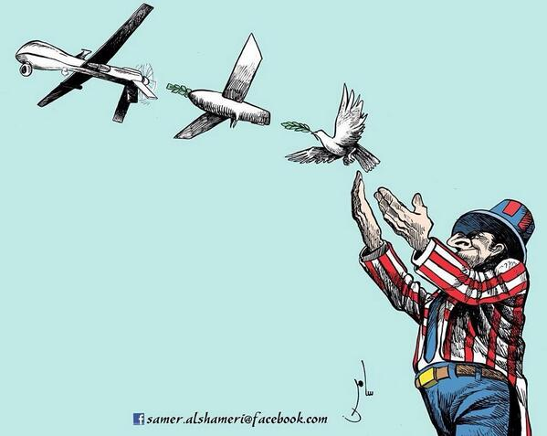 The reality of US policy in #Yemen depicted by Yemeni cartoonist Samer al-Shamiri #drones http://t.co/ocifM5kScY