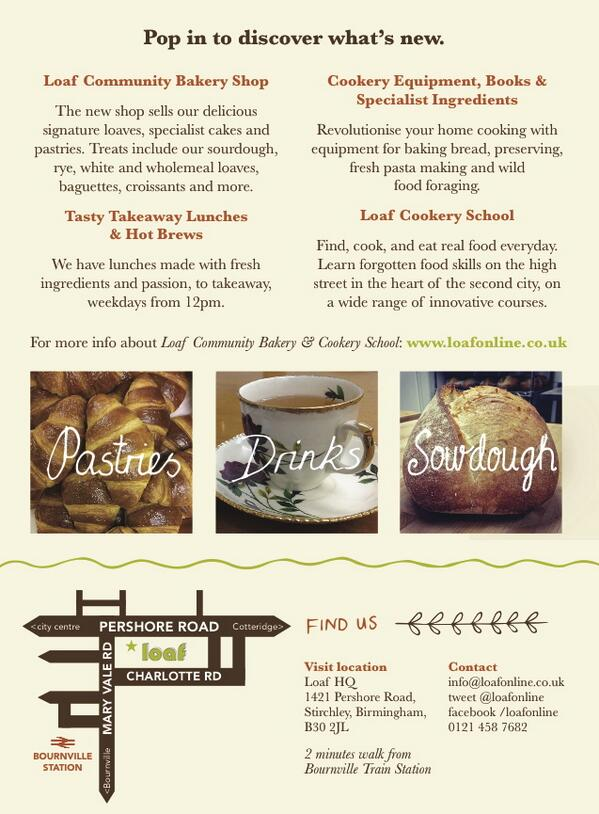 The new Loaf Bakery shop opens tomorrow - Saturday 26th April 2014, 8.15am - 1pm. Pop in to find out what's new! http://t.co/FUyqp1hEi4