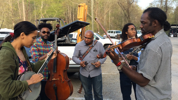 Jamming in the parking lot w/special guest Justin Robinson! Thanks for having us back, @MerleFest! We had fun. http://t.co/3Zk5PdrZFo