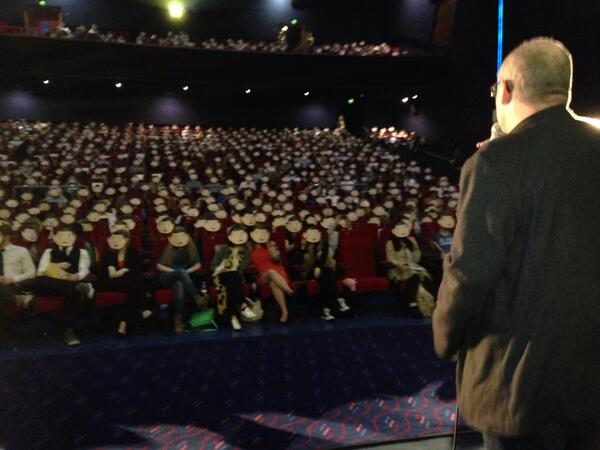 The view from the stage as the whole crowd put on Frank masks at Sundance London! http://t.co/AXg9PzU4qh