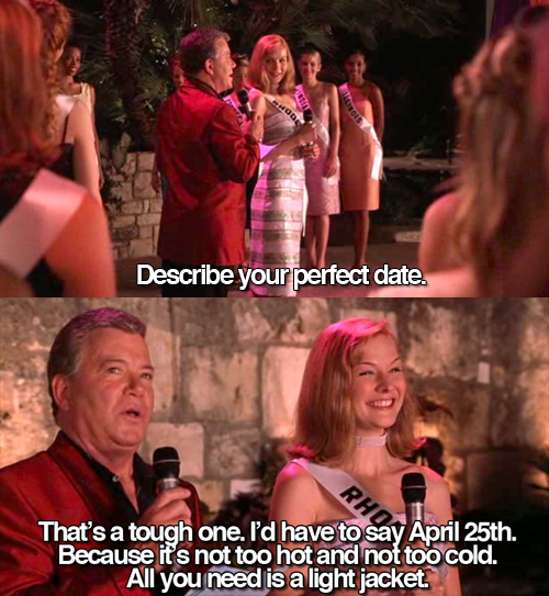 miss congeniality - describe the perfect date - all you need is a light jacket - april 25