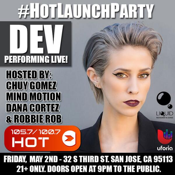 #HotLaunchParty This Fri 5/2 w/ @chuygomez @djmindmotion @danacortez @djrobbierob Performance by @devishot http://t.co/ptqIDtOVhu @hot1057fm