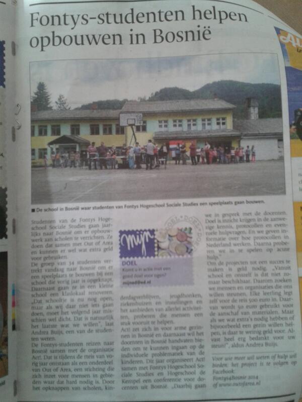 Studenten #Fontys Sociale Studies naar Bosnië voor opbouwwerk scholen. Zie FB Fontys4Bosnie2014 @FontysSocialeSt http://t.co/VxM9wcrMX3