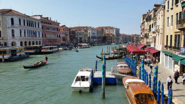 The Grand Canal in #Venice -ready to start #food tour with @WalksofItaly #OTTMED14 http://t.co/isNtlo994G