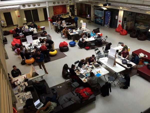 Day two of the third OpenGlasgow hackathon. The teams busy on their ideas. #hackglasgow http://t.co/ZapBaErP1P
